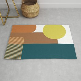 Shapes and Lines in Earthy Teal, Yellow, and Tan Rug