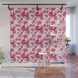 Beautiful Pink Australian Native Flowers on Gold Polka Dots - Protea, Grevillea, Eucalyptus Wall Mural
