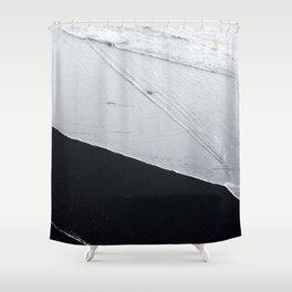Abstract black lava beach Shower Curtain