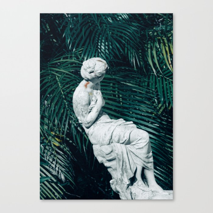 Statue with Palms Canvas Print