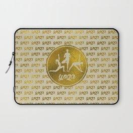 Golden Yoga Asanas Symbols  on  pastel beige Laptop Sleeve