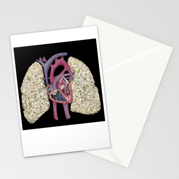 Fetal Heart with Baby's Breath Lungs Stationery Cards