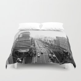 Gran Via in Madrid Duvet Cover