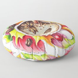 Fall and cup of coffee Floor Pillow
