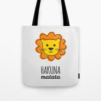 the lion king Tote Bags featuring Lion & King by Jane Mathieu
