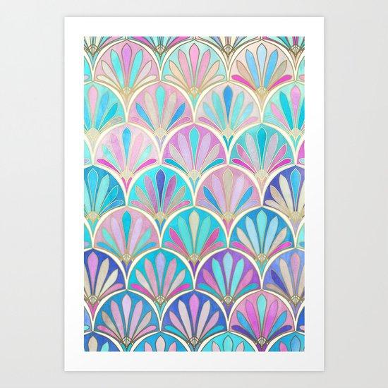 Glamorous Twenties Art Deco Pastel Pattern Art Print by micklyn ...