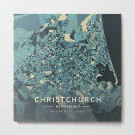 Christchurch, New Zealand - Cream Blue Metal Print