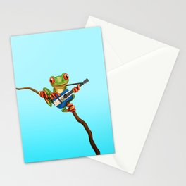 Tree Frog Playing Acoustic Guitar with Flag of El Salvador Stationery Cards