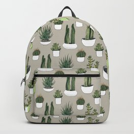 Watercolour cacti & succulents - Beige Backpack