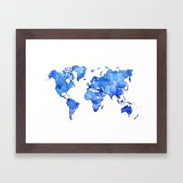 Cobalt blue watercolor world map Framed Art Print