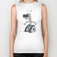 robot Biker Tanks featuring Robot by Sophie Corrigan