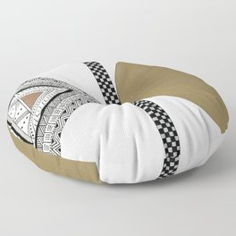 Geometric Shapes with Gold, Copper and Silver Floor Pillow