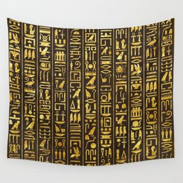 Gilded Hieroglyphs Wall Tapestry