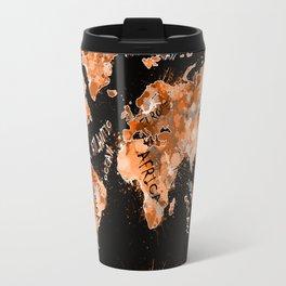 world map color splatter gold Travel Mug