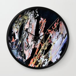 Gold Thread - Mixed Media Pebeo Paint Ceramic Abstract Modern Art, 2015 Wall Clock