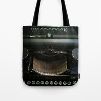 woodstock Tote Bags featuring Woodstock Type by Colleen G. Drew