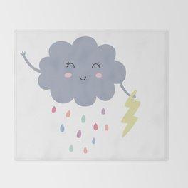 happy little rain cloud Throw Blanket