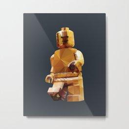 Golden LegoMinifigure Polygon Art Metal Print