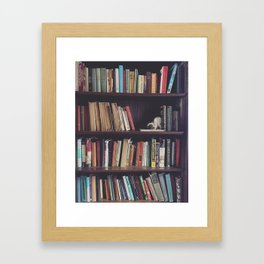 The Bookshelf in the Library, portrait, filtered Framed Art Print