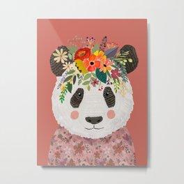 Cut Panda Bear with flower crown. Cute decor for kids Metal Print