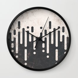 Marble and Geometric Diamond Drips, in Charcoal Grey and Light Beige Wall Clock