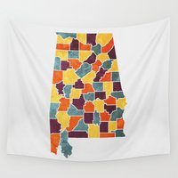 alabama Wall Tapestries featuring Alabama colour region map by MCartography