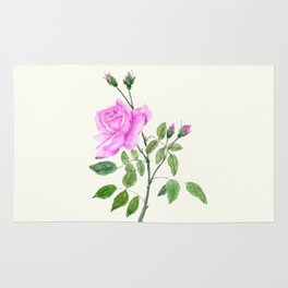 pink rose watercolor painting Rug