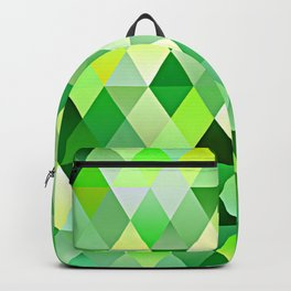 Lime Green Yellow White Diamond Triangles Mosaic Pattern Backpack