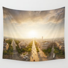 Champs Elysees From the Top Wall Tapestry