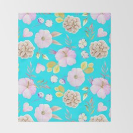 Artist hand painted pink lavender teal watercolor floral Throw Blanket