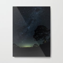 Landscape Photography Milky Way Galaxy Night Sky Stars Tree Silhouette Green Blue Ombre Sky Metal Print