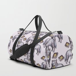 wolves eating pizza pattern Duffle Bag