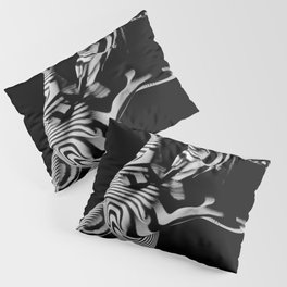 0465s-MM Black White Striped Art Nude Kneeling Woman Arched Back Bliss Pillow Sham