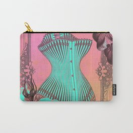 Vintage Turquoise Corset and Roses Carry-All Pouch