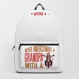 Never Underestimate A Grandpa with a Motorcycle Gift for Dads Backpack