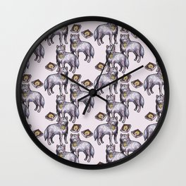 wolves eating pizza pattern Wall Clock