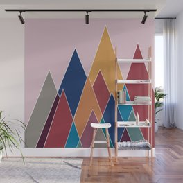 Colourful geomatric mountains Wall Mural