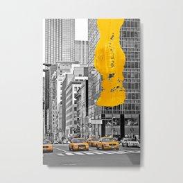 NYC Yellow Cabs - Police Car - Brush Stroke Metal Print