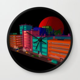 red moon city Wall Clock