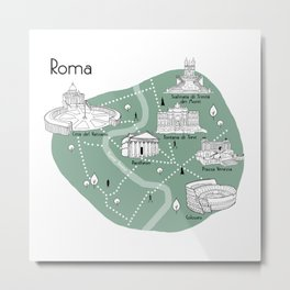 Mapping Roma - Green Metal Print