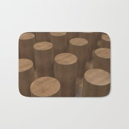 Wood with cylinders Bath Mat