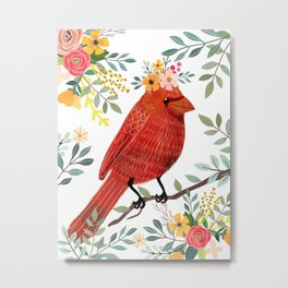 Red Bird with Floral Crown Metal Print
