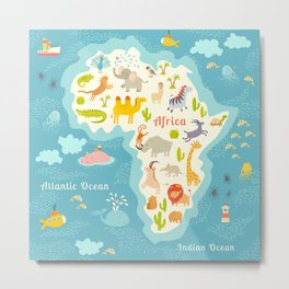 Animals world map, Africa. Beautiful cheerful colorful vector illustration for children and kids. Wi Metal Print