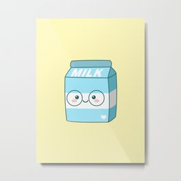 Kawaii Milk Metal Print