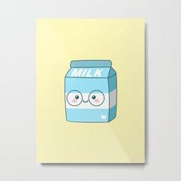 Kawaii Milk Metal Print