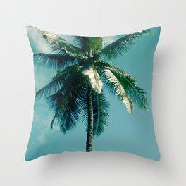 Niu Hawaiian Tropical Coconut Palm Tree Keanae Maui Hawaii Throw Pillow