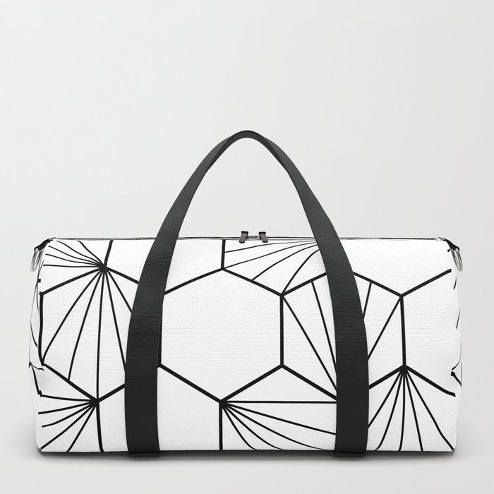 Peacock comb black white geometric pattern Duffle Bag