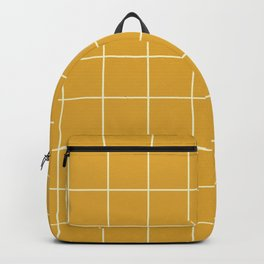 Yellow Mustard #9 Grid Pattern Line Stripe Minimalist Geometric Stripes Lines Backpack