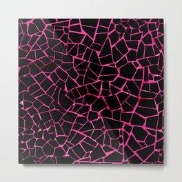 Black and Pink Crack Pattern Metal Print