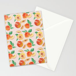 Peaches Slices party in my garden_ Hand Painted modern watercolour & ink Stationery Cards